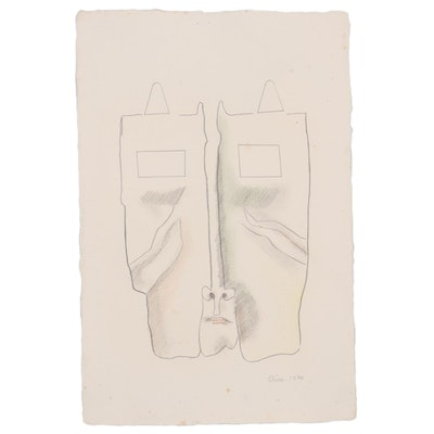 Eduardo Oliva Abstract Watercolor and Graphite Portrait, 1970