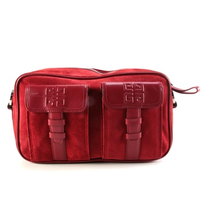 Givenchy Red Suede Shoulder Bag with Smooth Leather Trim