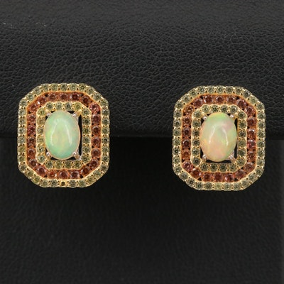 Sterling Silver Opal and Topaz Earrings