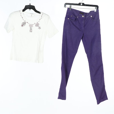 Escada Embellished Graphic T-Shirt and Purple Jeans