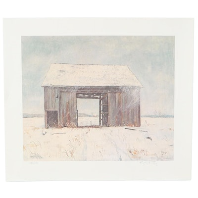 Offset Lithograph of Snowy Barn