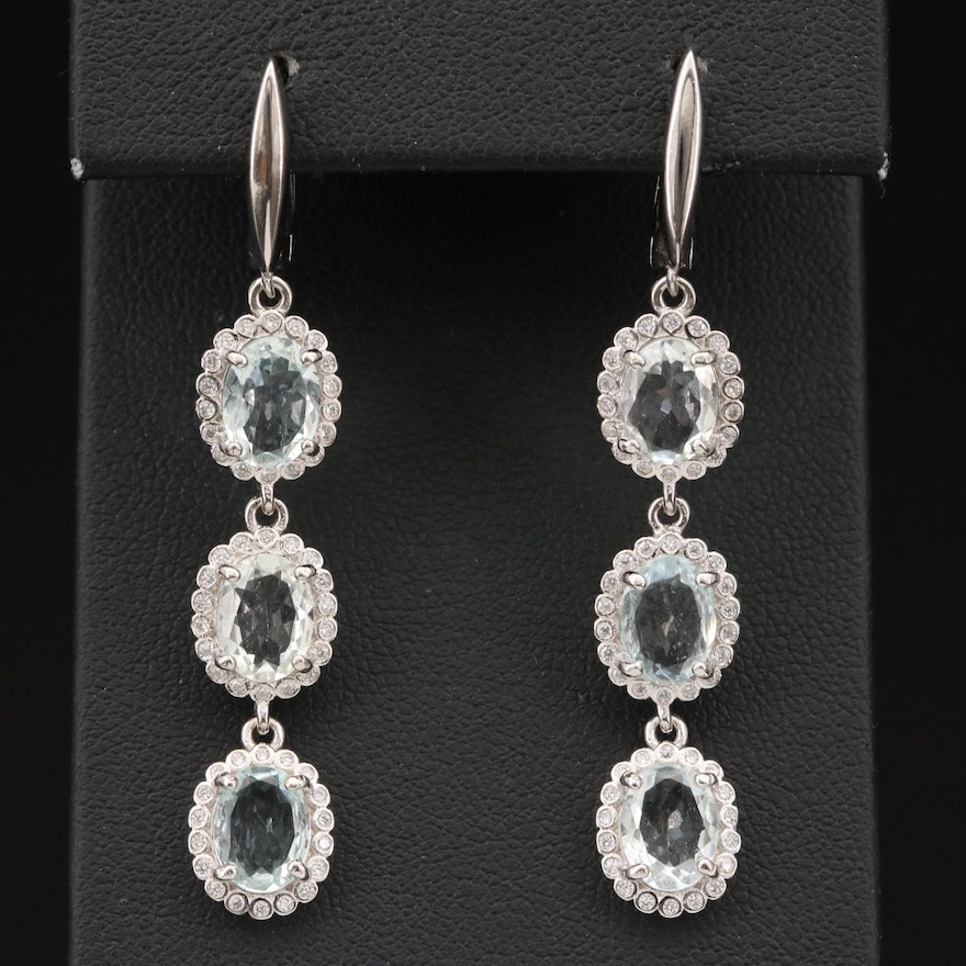 Sterling Silver Aquamarine and Cubic Zirconia Drop Earrings