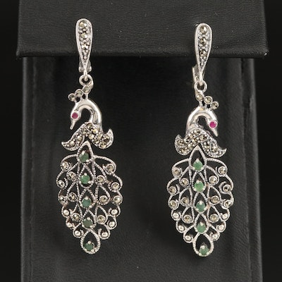 Sterling Beryl, Corundum and Marcasite Peacock Earrings