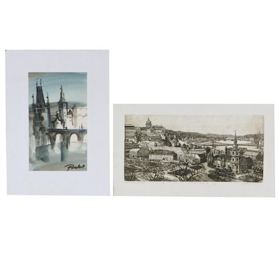 Cityscape Etching and Watercolor Painting
