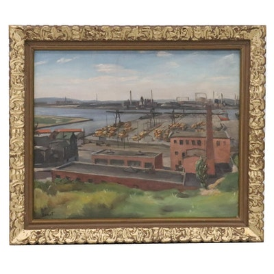 "Richard H. Basset Oil Painting ""Boston Harbor,"" 1940s"