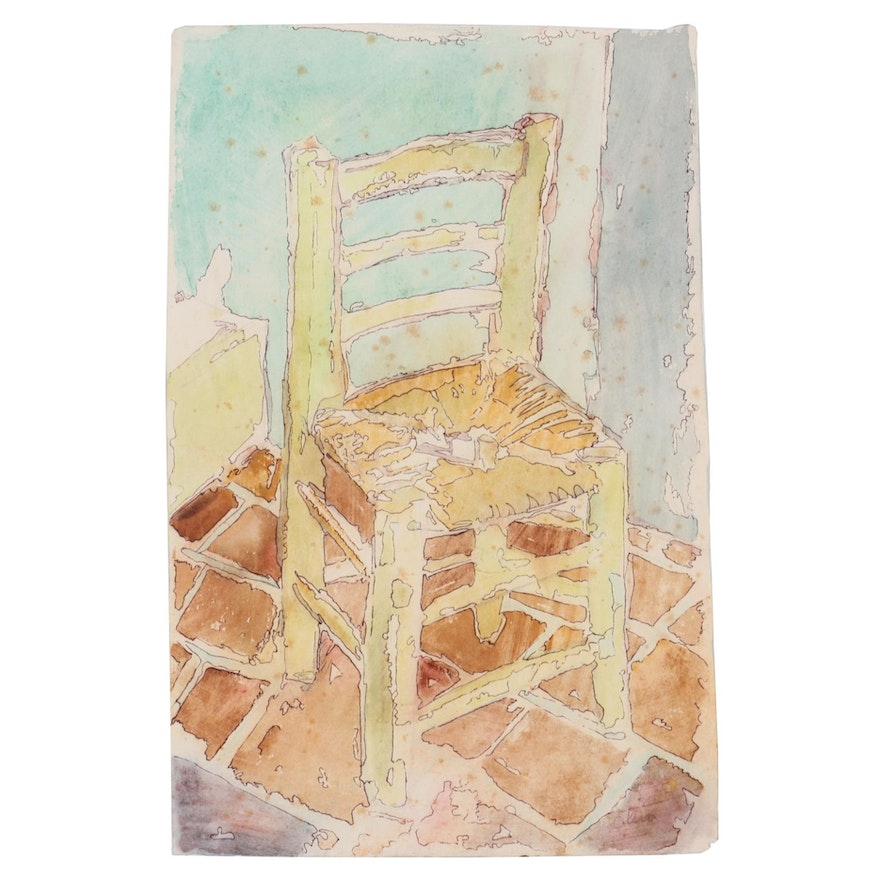 Eduardo Oliva Ink and Watercolor Painting of Chair, Late 20th Century