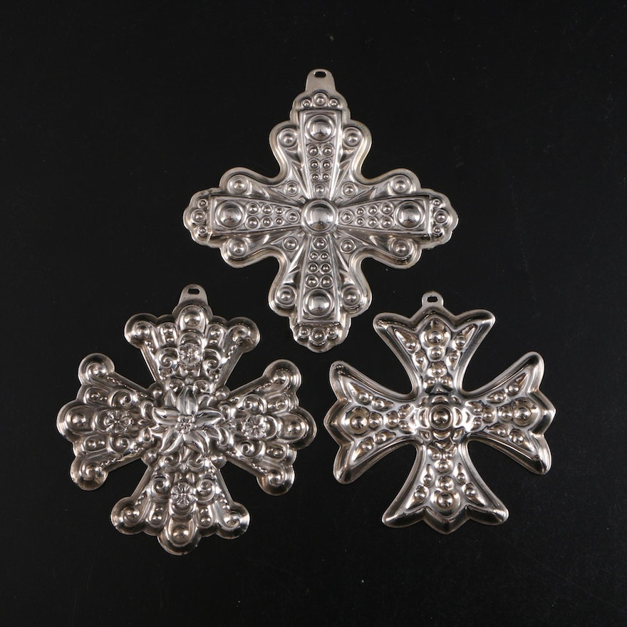 """Reed & Barton Sterling Silver """"Christmas Cross"""" Ornaments, 1970's"""