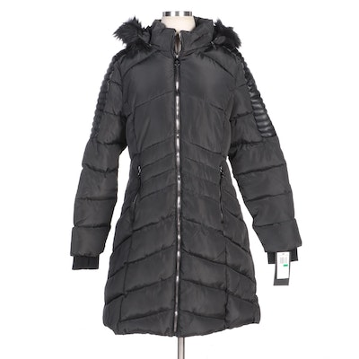 Nanette by Nanette Lepore Black Down Puffer Coat with Faux Fur Trimmed Hood
