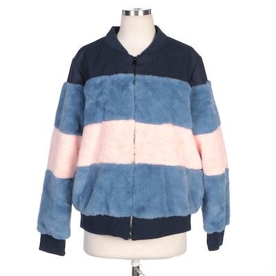 Pink Platinum Faux Fur Color Block Zipper-Front Jacket