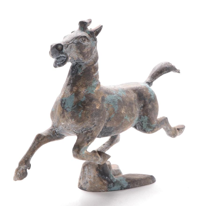 "Patinated Cast Metal Sculpture after Han Dynasty ""Flying Horse of Gansu"""