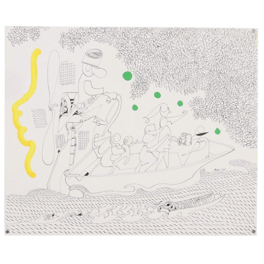 Eduardo Oliva Figural Ink Drawing with Acrylic, 1985