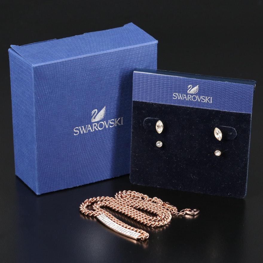 "Swarovski Crystal ""Vio"" Pavé Necklace and ""Harley"" Earring Set"
