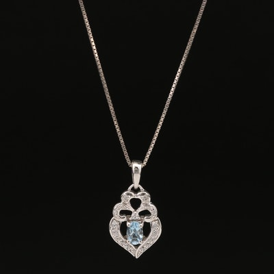 Sterling Silver Aquamarine and Topaz Heart Pendant Necklace