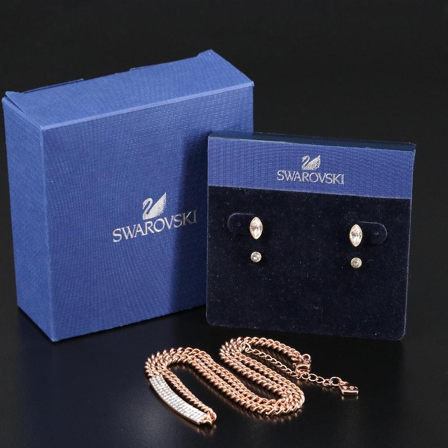 """Swarovski Crystal """"Harley"""" Earrings and """"Vio"""" Pavé Necklace"""
