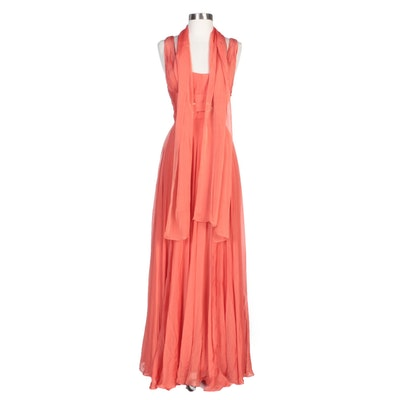 Alberto Makali Embellished Coral Silk Evening Gown with Shoulder Wrap