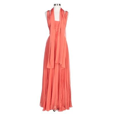 Alberto Makali Embellished Coral Silk Evening Gown with Shoulder Wrap