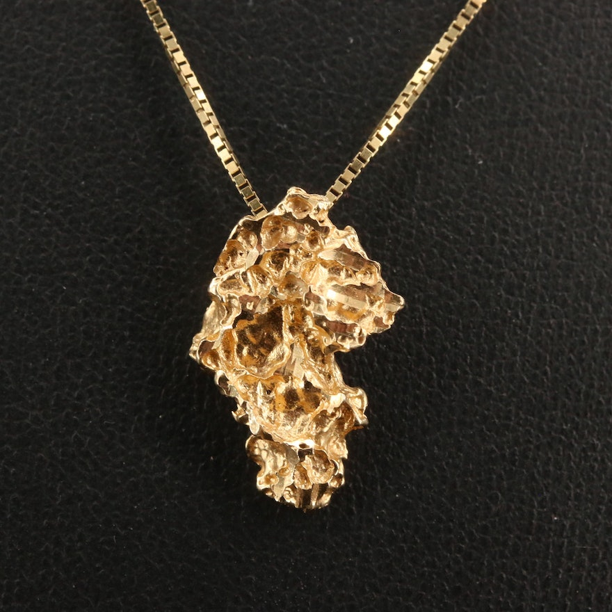 14K Nugget Style Pendant Necklace