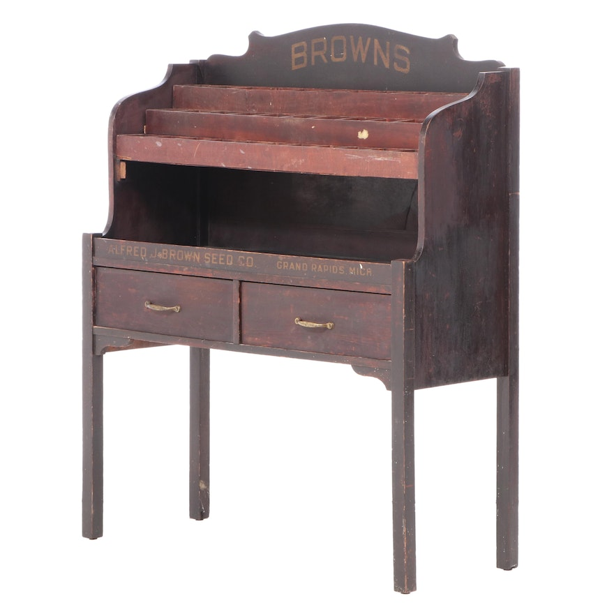 Alfred J. Brown Seed Co. Country Store Display Cabinet, patented 1917