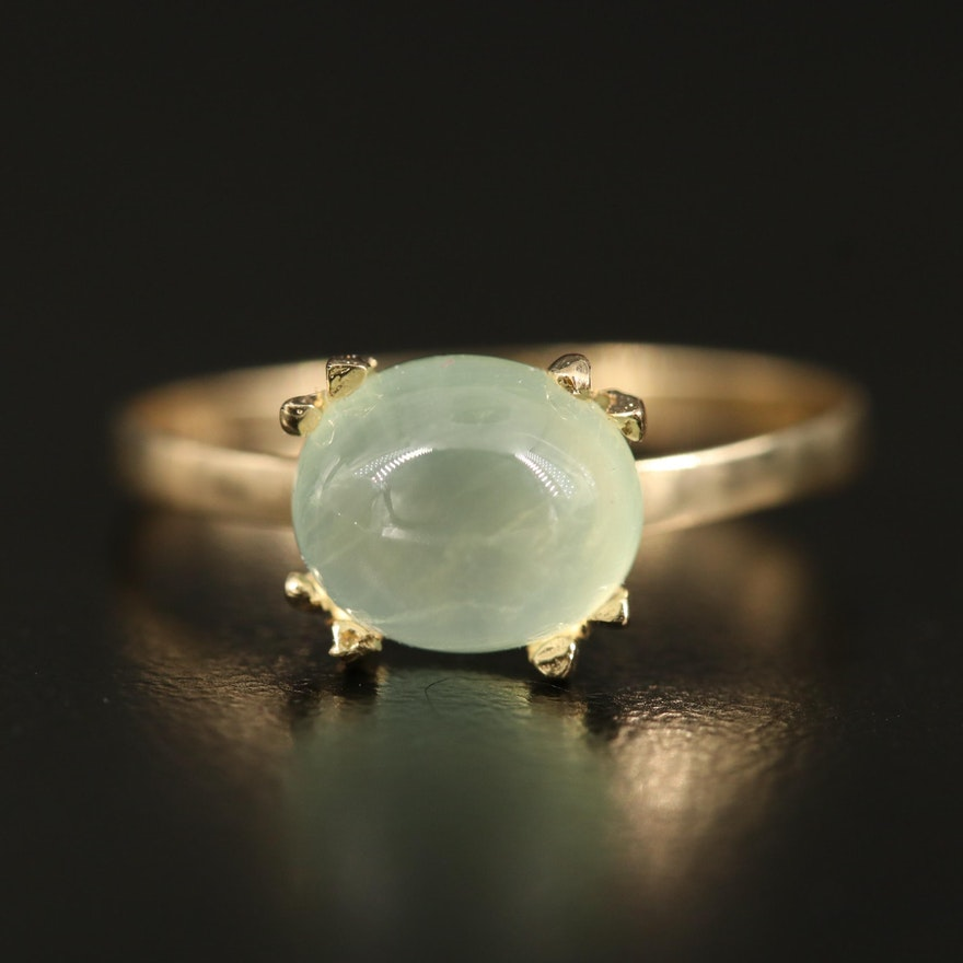 14K Prehnite Solitaire Ring