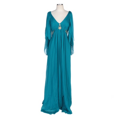 Alberto Makali Cerulean Embellished Silk Evening Dress with Butterfly Sleeves