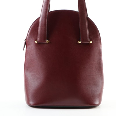 Cartier Dome Burgundy Textured Leather Top Handle Bag