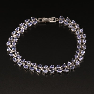 Tanzanite Double Row Bracelet in Sterling