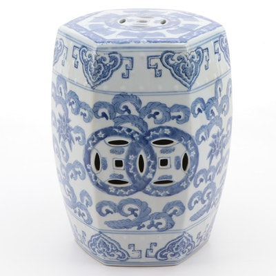 Chinese Style Blue and White Floral Ceramic Garden Stool