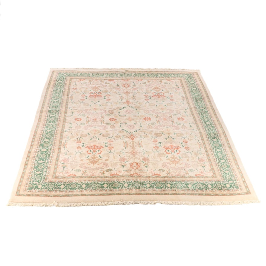 11'8 x 15'5 Hand-Knotted Indo-Persian Agra Wool Room Size Rug