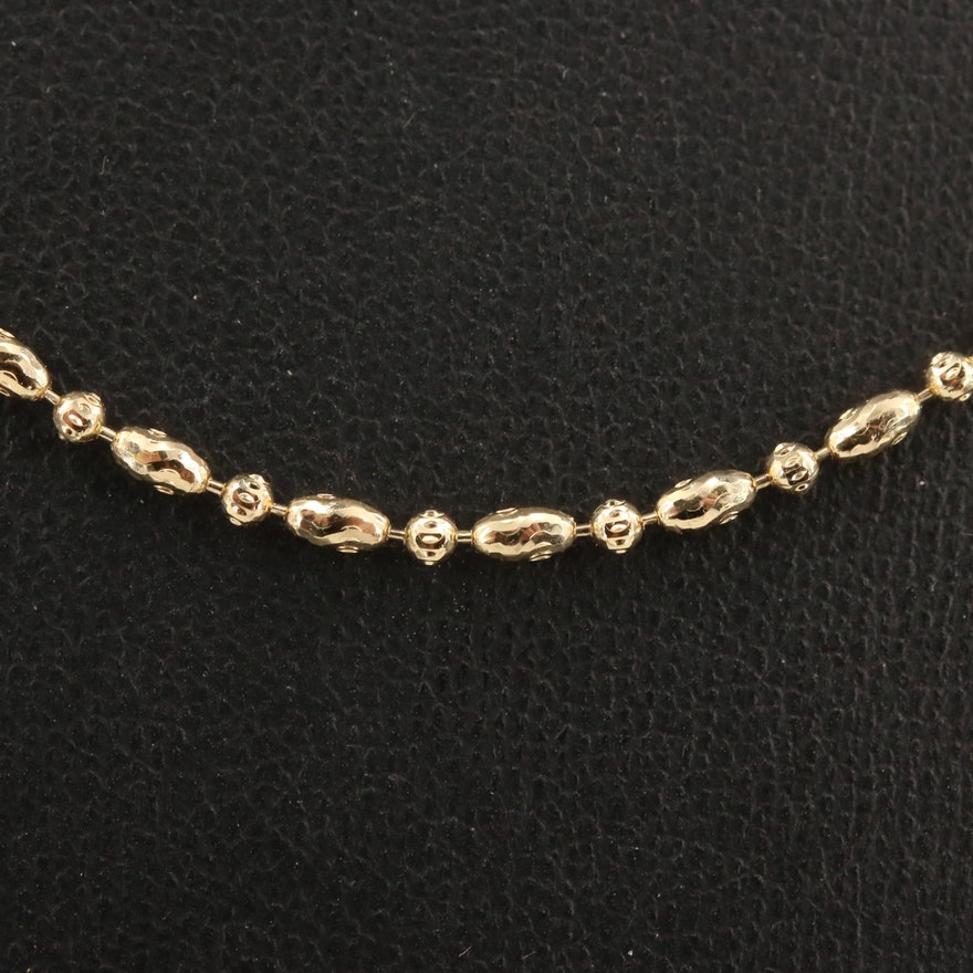 14K Patterned Bead Chain Necklace