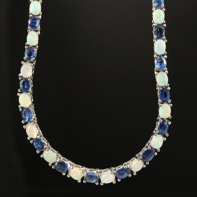Sterling Opal and Kyanite Line Necklace