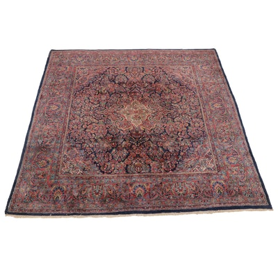 9'9 x 10' Hand-Knotted Persian Kashan Wool Room Size Rug