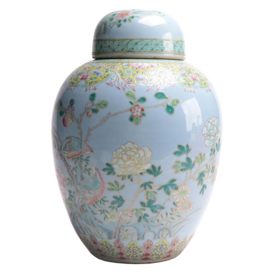 Chinese Kangxi Style Famille Rose Ginger Jar, 20th Century
