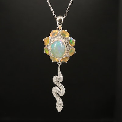 Sterling Opal and Cubic Zirconia Pendant with Snake Detail