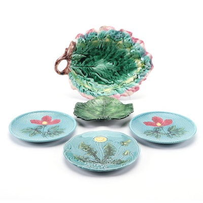 Griffin Hill Smith & Co. Majolica Leaf Plate and Other Majolica Plates