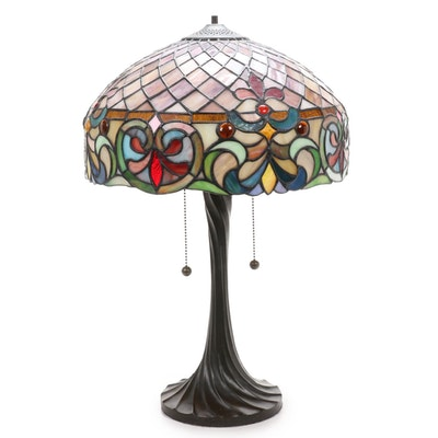 Art Nouveau Style Table Lamp with Slag and Stained Glass Shade