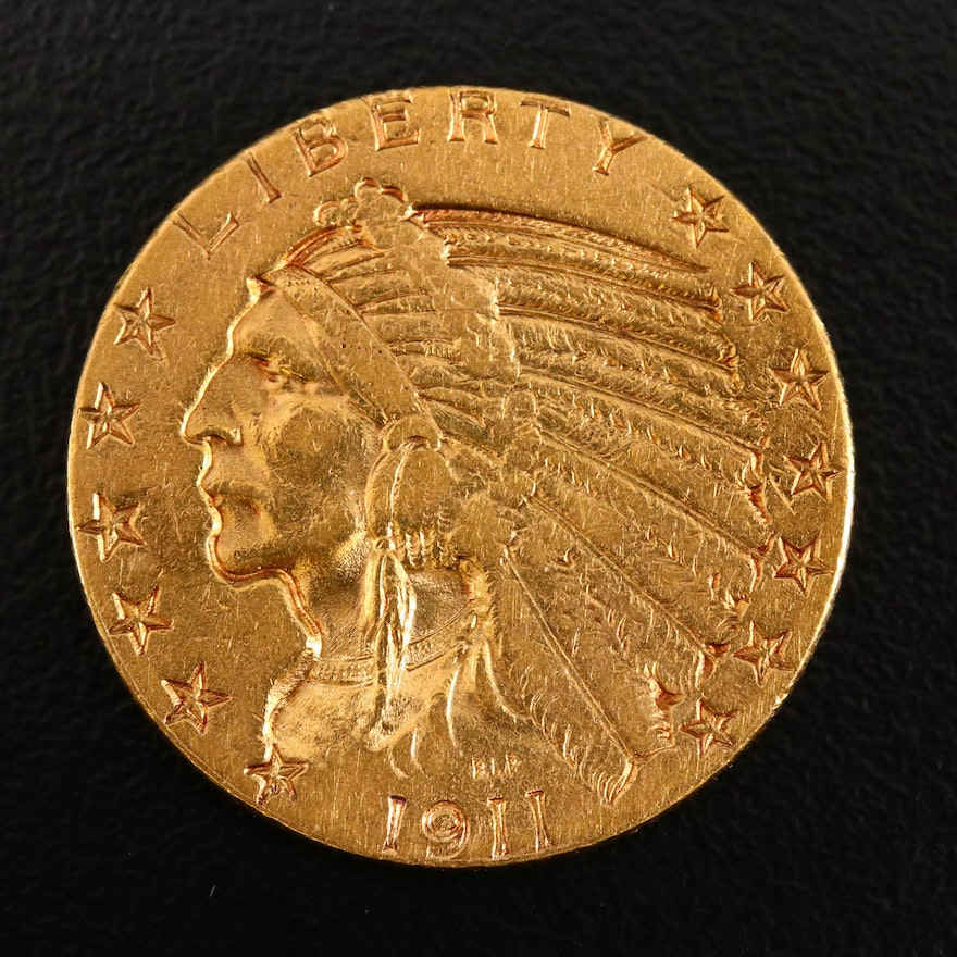 1911-S Indian Head $5 Gold Half Eagle