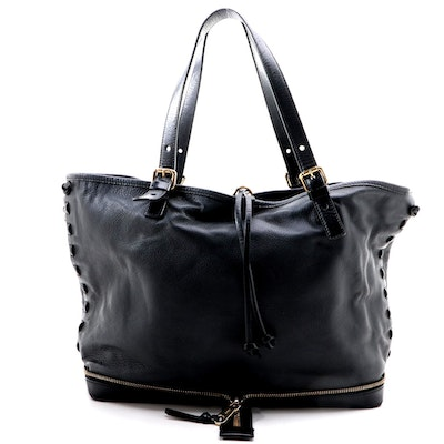 Chloé Ellen Moyen Tote Bag in Black Grained Leather