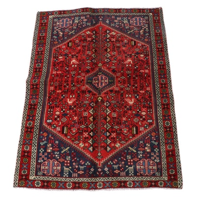 3'4 x 4'9 Hand-Knotted Persian Qashqai Wool Area Rug