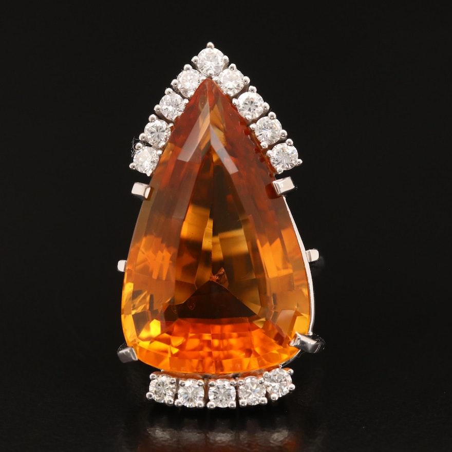 18K 15.00 CT Citrine and Diamond Teardrop Ring