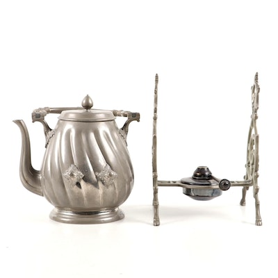 Eduard Hueck of Germany Pewter Coffee Pot on Stand with Burner, 19th C.