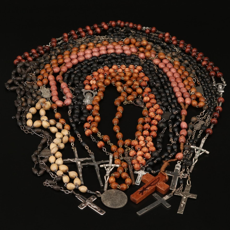"""Wood Bead Rosaries and """"Jesus in the Blessed Sacrament"""" Chaplet"""