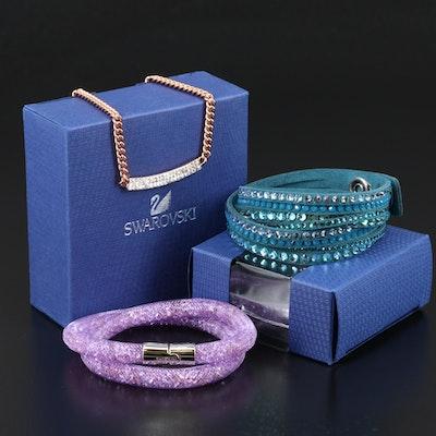 """Swarovski Crystal Jewelry with """"Stardust"""" and """"Suede"""" Wrap Bracelets"""