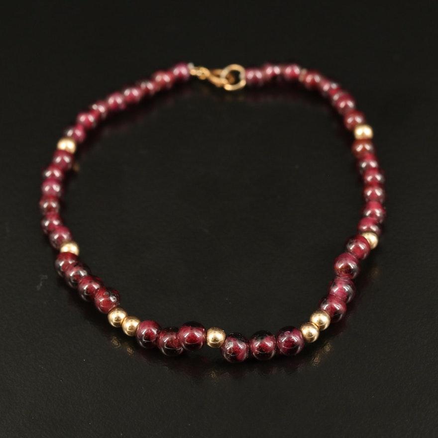14K Garnet Beaded Bracelet