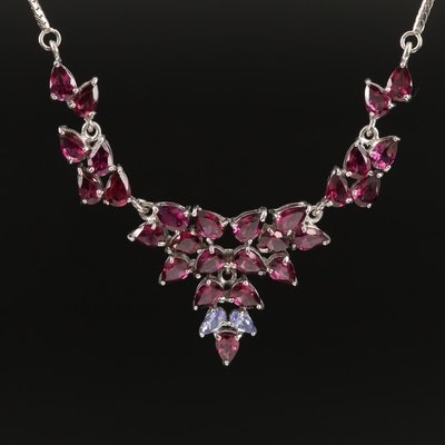 Sterling Silver Garnet and Tanzanite Stationary Pendant Necklace