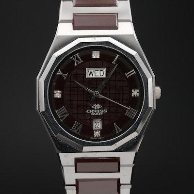 Oniss Paris High Tech Tungsten and Ceramic Diamond Quartz Wristwatch