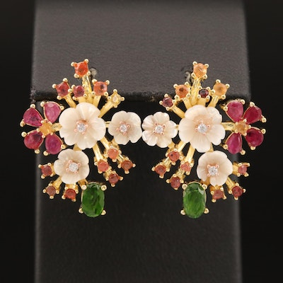 Sterling Diopside, Ruby and Mother of Pearl Flower Button Earrings
