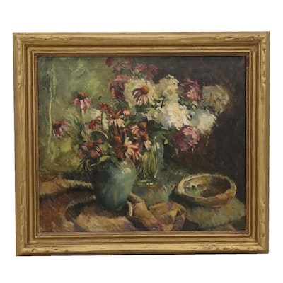 Harriet Krawiec Floral Still Life Oil Painting with Coneflowers and Roseums