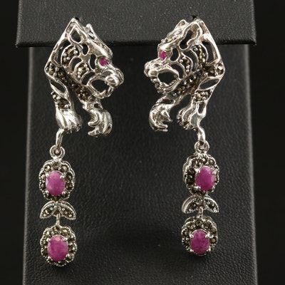 Sterling Corundum and Marcasite Tiger Earrings