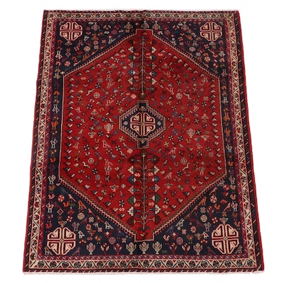 4'1 x 5'9 Hand-Knotted Persian Qashqai Wool Rug