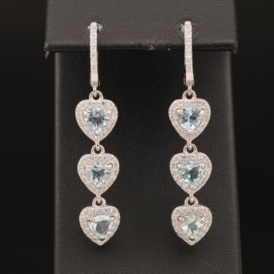 Sterling Aquamarine and Cubic Zirconia Heart Dangle Earrings